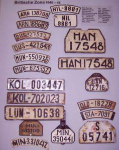 Nummernschilder aus der britischen Besatzungszone 1945 -1946