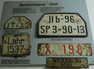 Alte deutsche Nummernschilder 1945