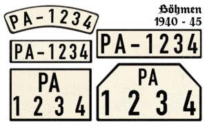 Nummernschilder PA Böhmen 1940 bis 1945