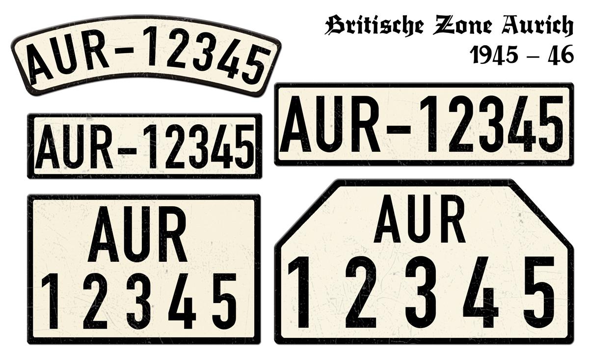 AUR Nummernschilder aus der Britische Zone Aurich 1945 bis 1946