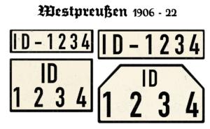 Nummernschilder ID Westpreußen von 1906 bis 1922